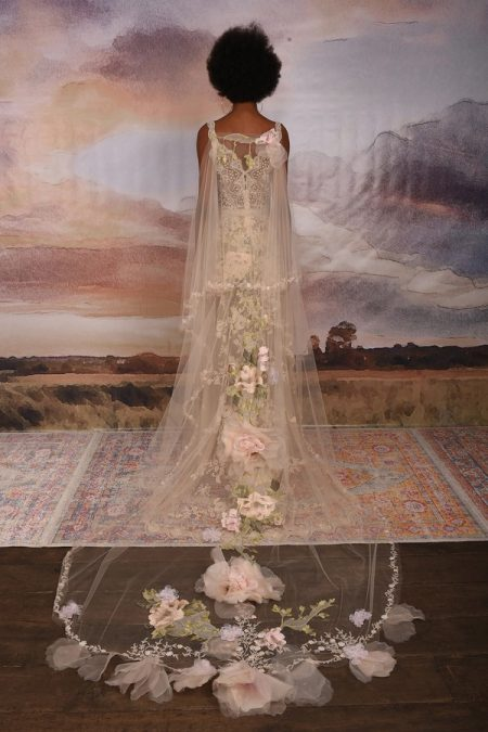 Back of Gypsy Rose Wedding Dress with Cape from the Claire Pettibone Vagabond 2018 Bridal Collection