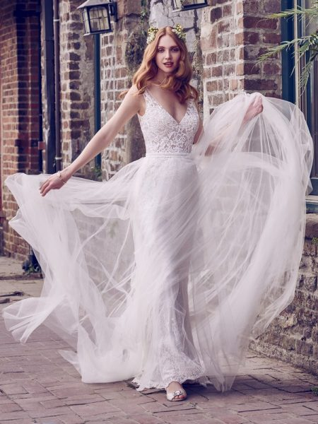 Hazel Wedding Dress with Tulle Overskirt from the Maggie Sottero Emerald 2018 Bridal Collection