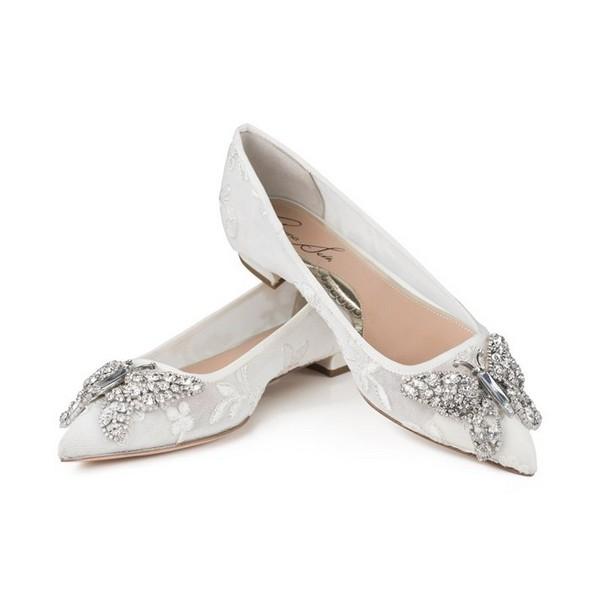 Ivory Lace Pointy Toe Ballerina Bridal Shoes by Aruna Seth