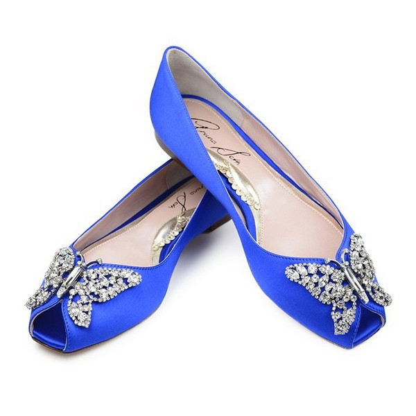 Liana Cobalt Blue Satin Peep Toe Ballerina Bridal Shoes by Aruna Seth