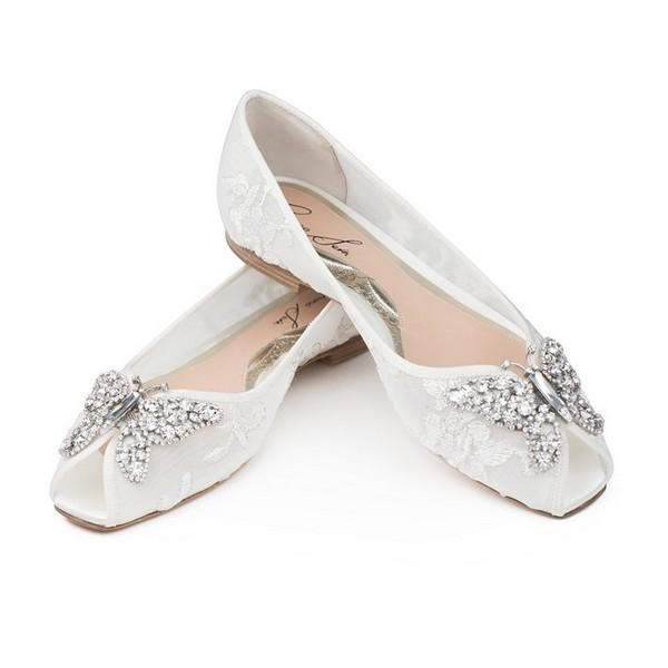 Liana Ivory Lace Peep Toe Ballerina Bridal Shoes by Aruna Seth