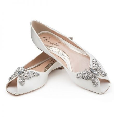 Liana Ivory Satin Peep Toe Ballerina Bridal Shoes by Aruna Seth