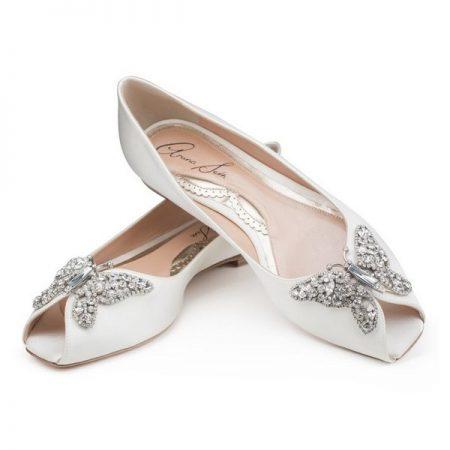 Liana Ivory Satin Peep Toe Ballerina Bridal Shoes by Aruna Seth
