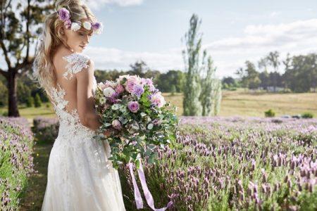 Boho bride in field of lavender