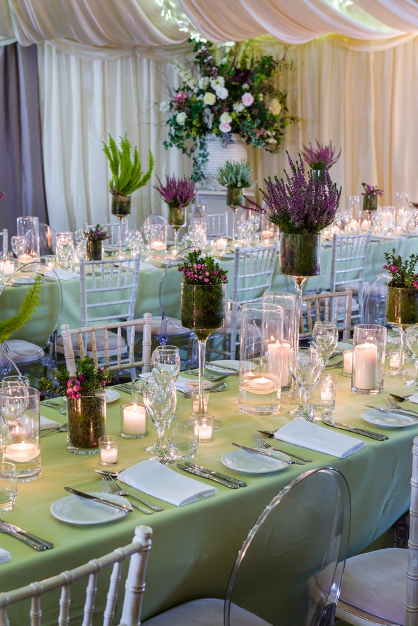 Mixed Height Candles On Wedding Tables