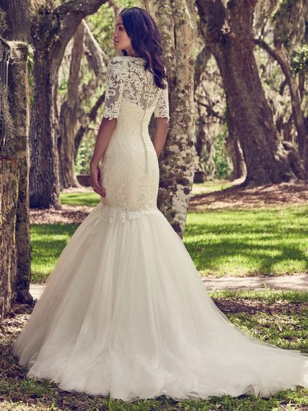 Back of Orchid Wedding Dress with Lace Illusion Jacket from the Maggie Sottero Emerald 2018 Bridal Collection