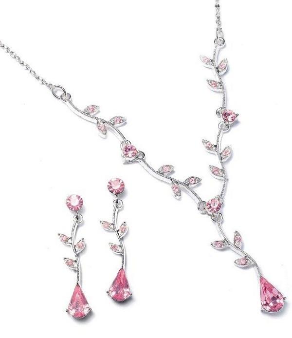 Pink Diamanté Necklace Set Bridesmaid Accessories