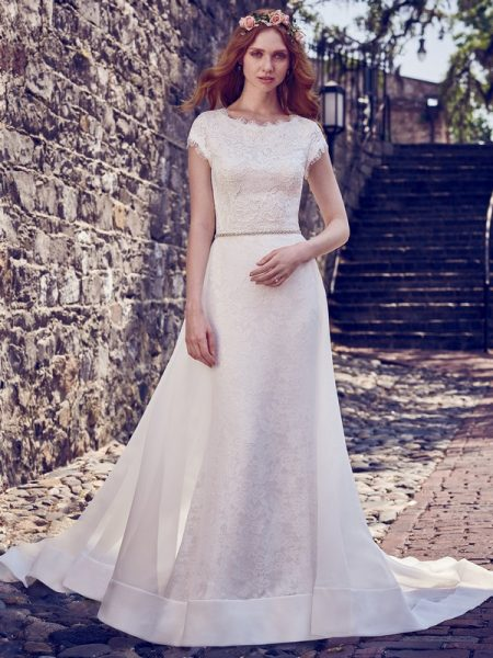 Raylene Wedding Dress with Fallow Organza Overskirt from the Maggie Sottero Emerald 2018 Bridal Collection