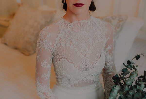 Lace detail on front of bride's dress