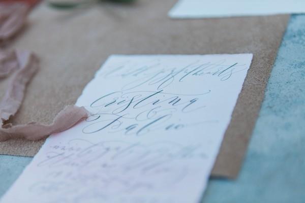 Calligraphy on wedding stationery