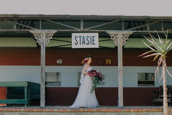 Bride on station platform at The Simondium Country Lodge