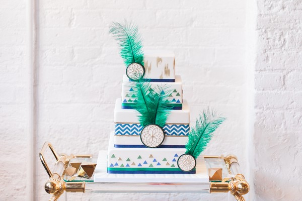 Wedding cake with geometric, green feather and dreamcatcher details