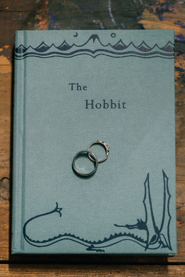 Wedding rings on JRR Tolkien's The Hobbit book