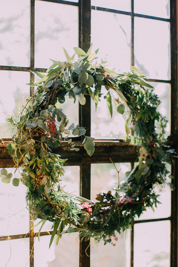 Wreath hanging in window