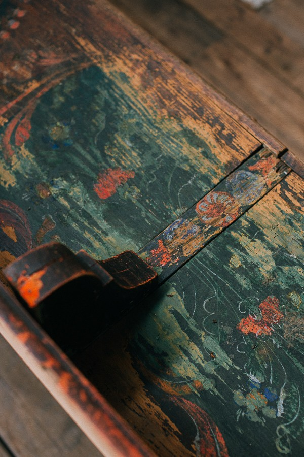 Old wooden church pew