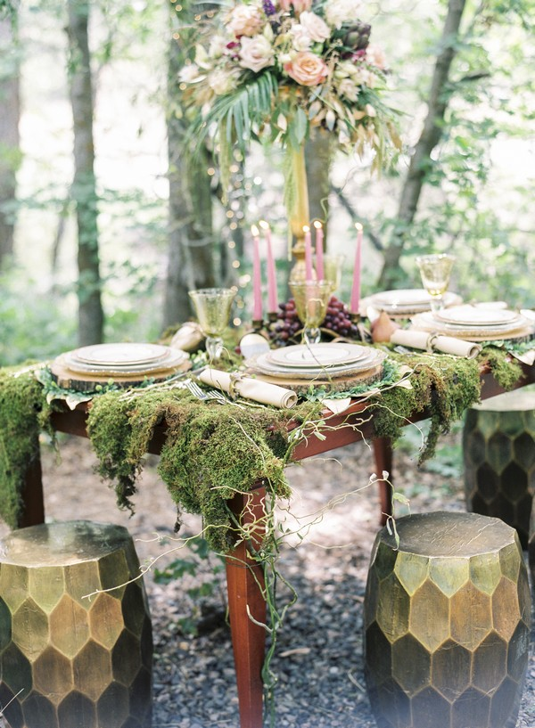 Moss covered A Midsummer Night's Dream styled wedding table