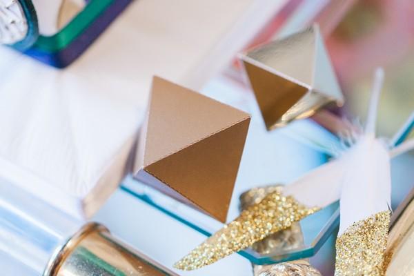Gold octahedron geometric shapes