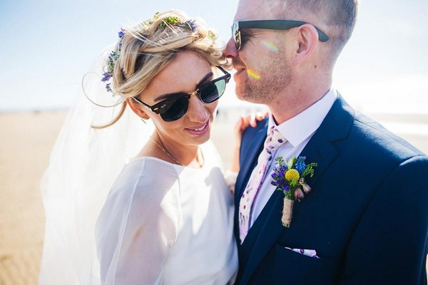 Bride and groom wearing sunglasses - Picture by Sally T Photography