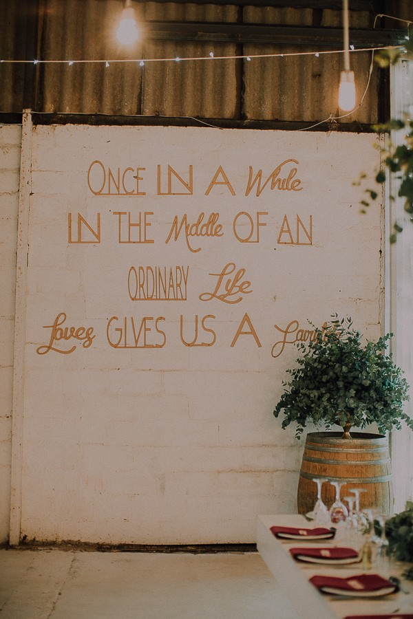 Love message written on wall at Die Stoor