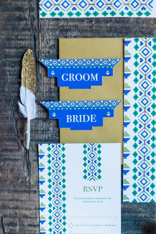 Blue geometric wedding place cards