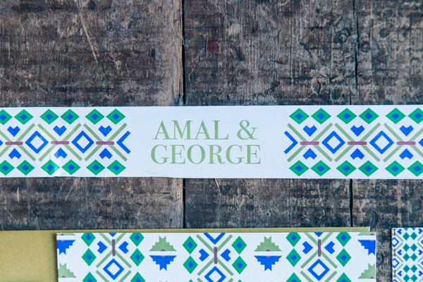 Blue and green geometric wedding name banner