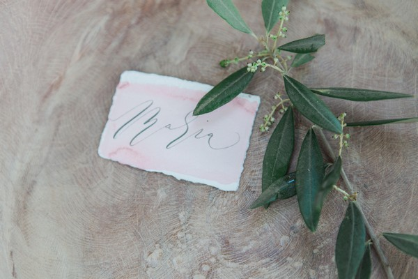 Wedding name card in bowl