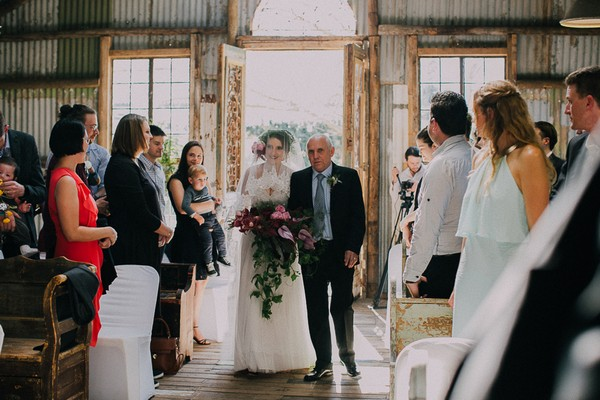 Father walking bride down the aisle at The Simondium Country Lodge wedding