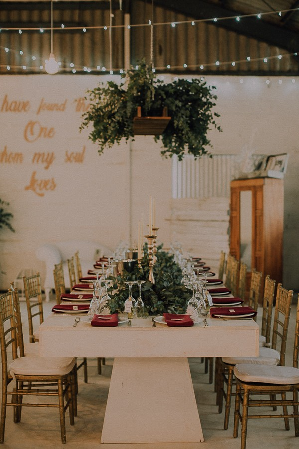 Hanging installation over wedding table