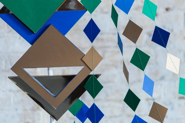 Geometric shapes on wedding backdrop