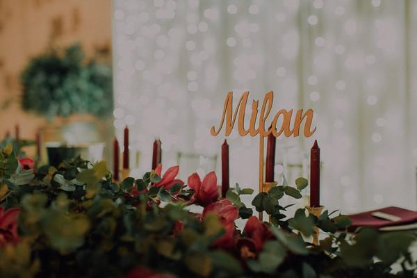 Milan Italian-Inspired wedding table name