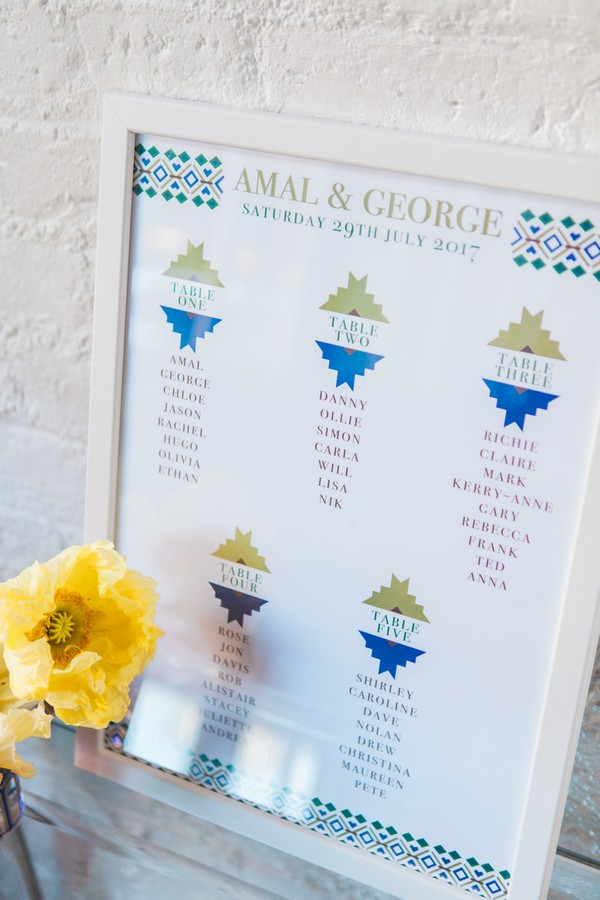 Geometric styled wedding table plan