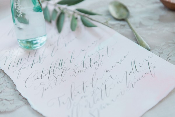 Wedding note written in calligraphy