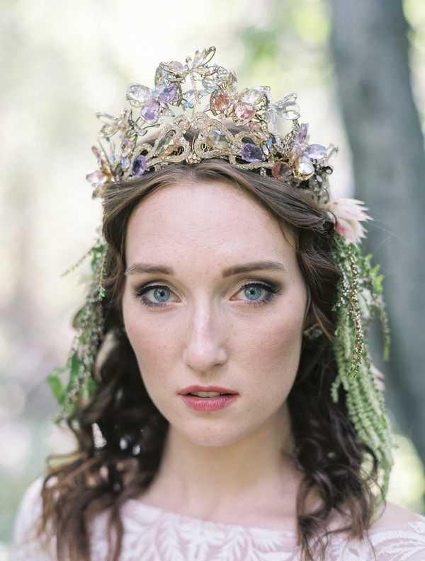 Bride wearing jewel firefly crown