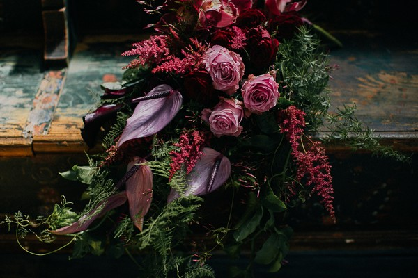 Maroon bridal bouquet
