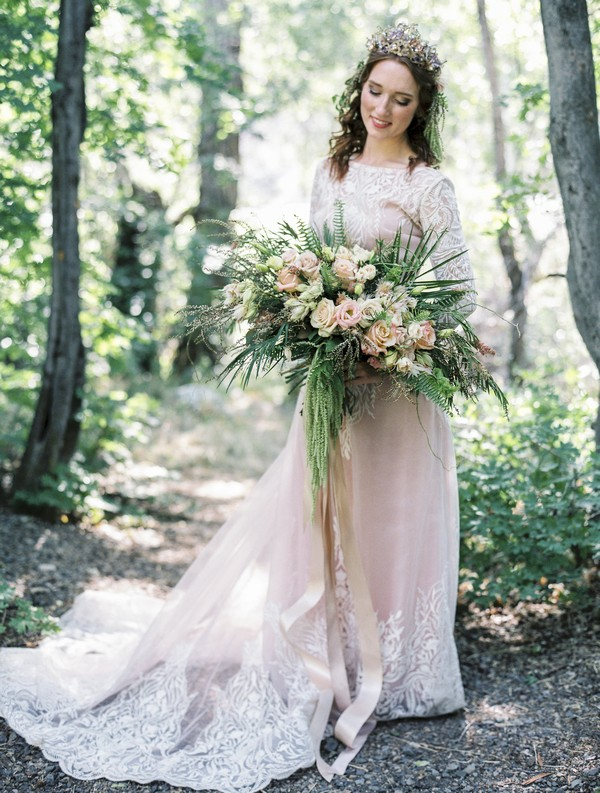 Bride holding large bouquet