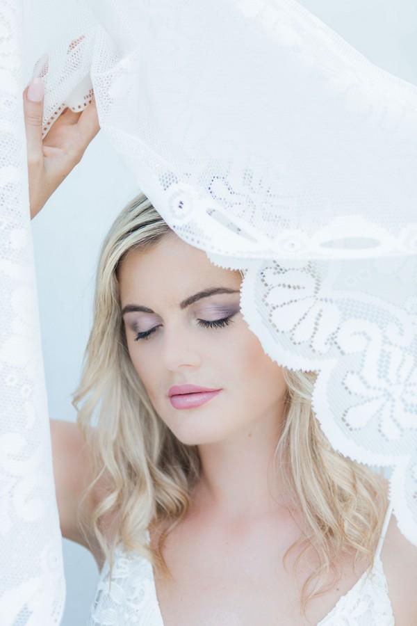 Bride with eyes shut