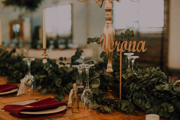 Verona Italian-inspired wedding table name