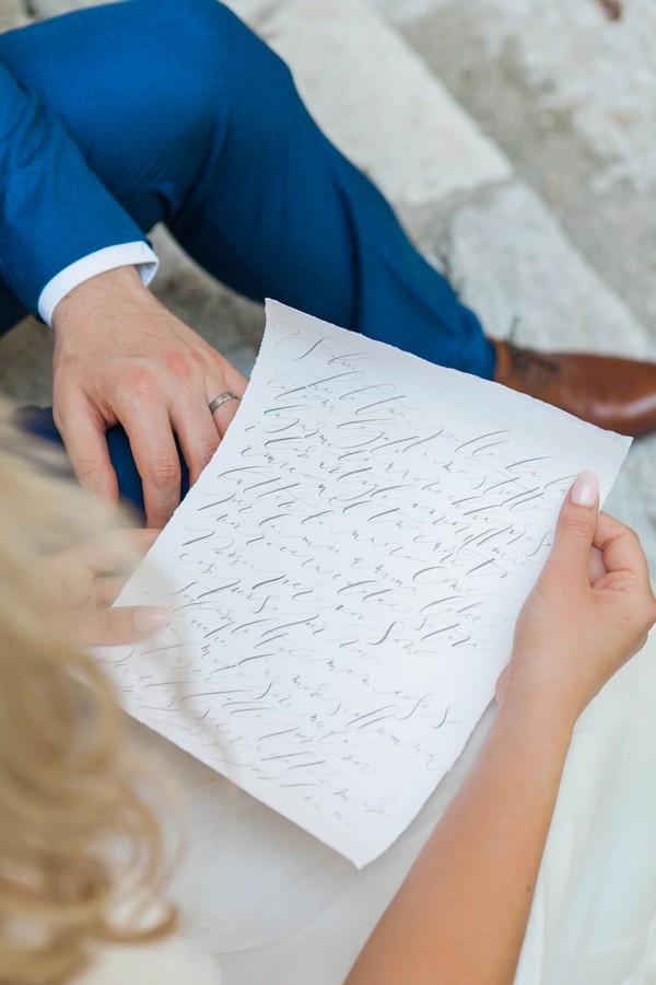 Bride reading note