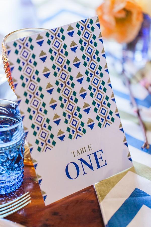 Geometric wedding table number