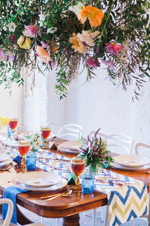 Bold and bright styled wedding table for urban tribal styled wedding shoot