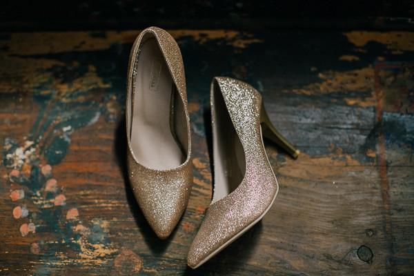 Gold glitter wedding shoes