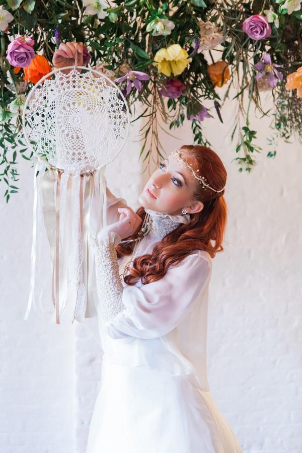 Bride hanging dreamcatcher