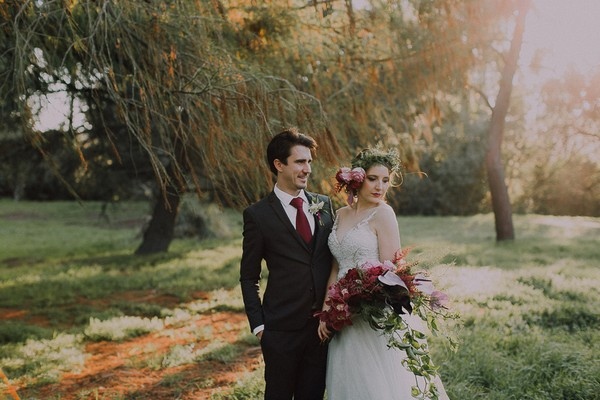 Bride and groom in grounds of Simondium Country Lodge