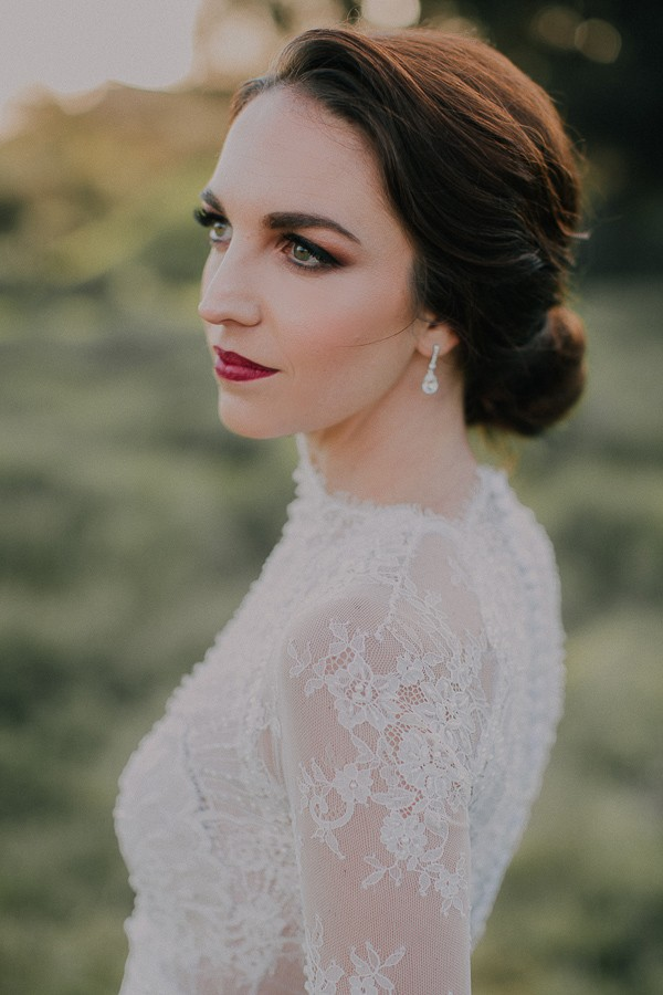 Bride with updo hairstyle