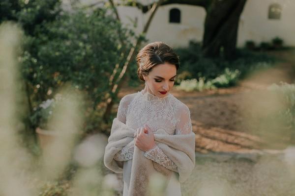 Bride with fur shrug
