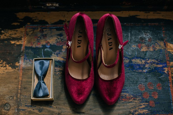 Maroon wedding shoes
