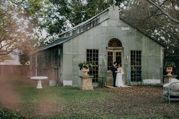 Bride and groom outside chapel at Simondium Country Lodge
