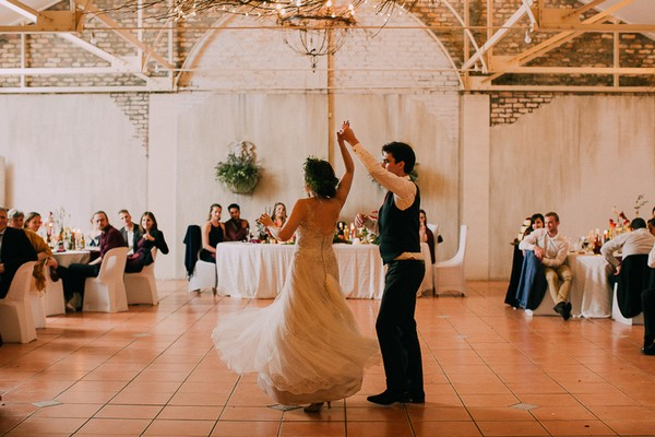 Bride twirling during first dance