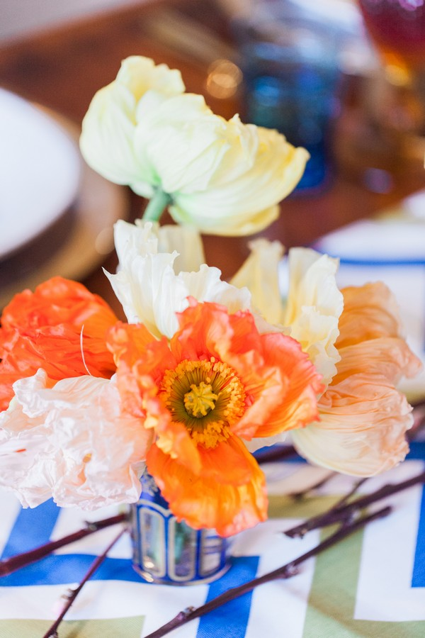 Orange wedding table flowers
