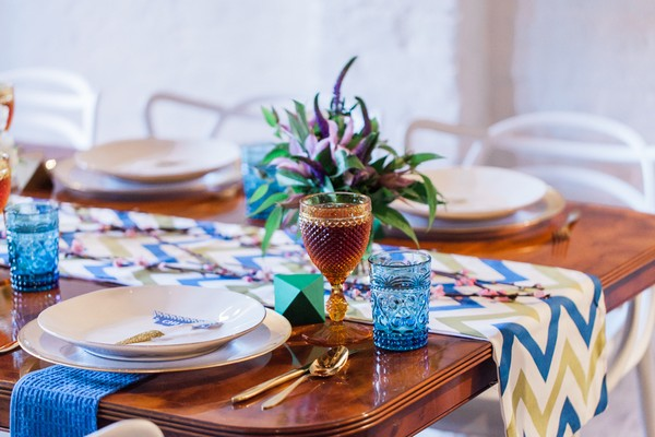 Blue wedding table styling